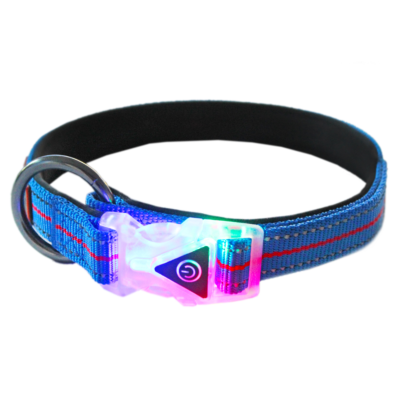 Night Light Pet Safety Reflective Adjustable Padded Dog Collar With LED Flashing Buckle