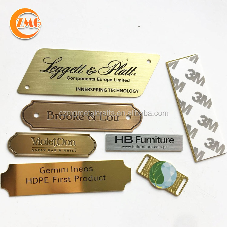 High grade personalizzata incisa texture stampato logo brushed metal plate