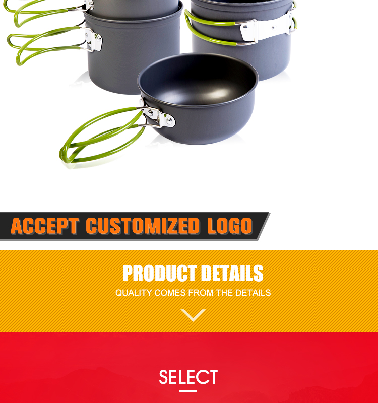 Outdoor Folding Cookwar Pot Pan Set Outdoor kitchen Pot Pan Set