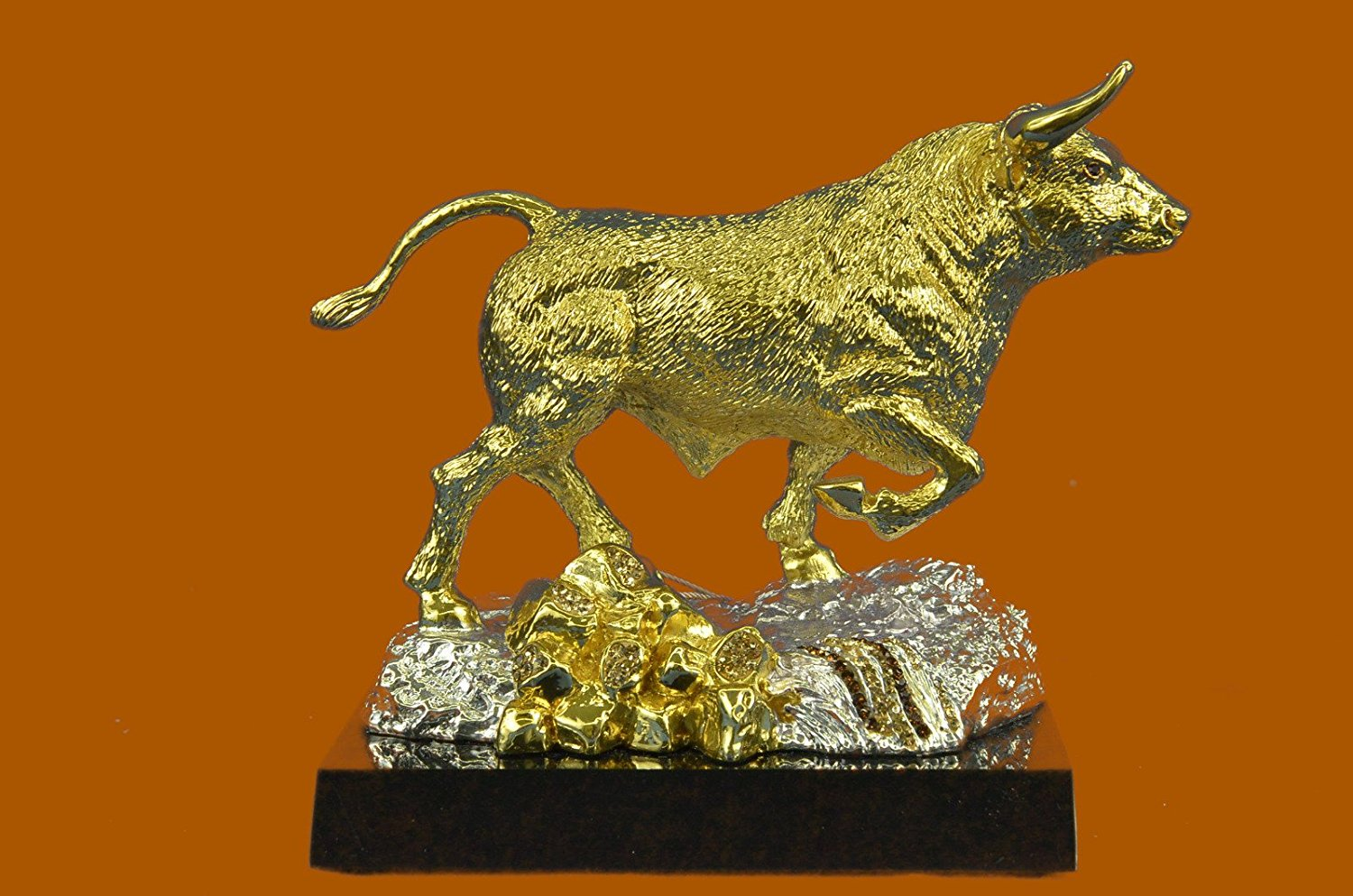 ...Handmade...European Bronze Sculpture Handcrafted Detailed 24K Gold Stock Market Bull Home Office Cabin Decor (SHO-824-UK) Bronze Sculpture Statues Figurine Nude Office & Home Décor Collectibles Sa