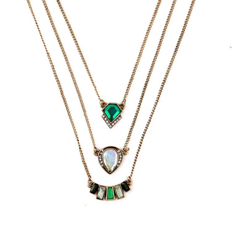 Vintage elegant layers gems necklace women three layer bead necklace green pendant layered necklace