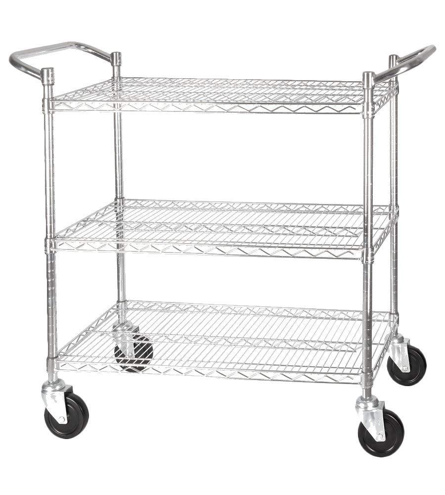 "Winco 3-Tier Wire Shelving Cart 18"" x 36"""