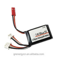 Lithium ion polymer battery pack 7.4V 200mAh 25C rate for rc helicopter, rc toys, racing cars high drain lipo battery