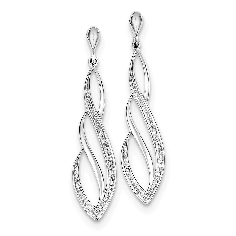 .925 Sterling Silver Rhodium-plated Diamond Dangle Post Earrings