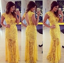 Wholesale onen Instyles women 2015 Yellow Sey Lace Prom Dresses Long Open-bac Quality Choice