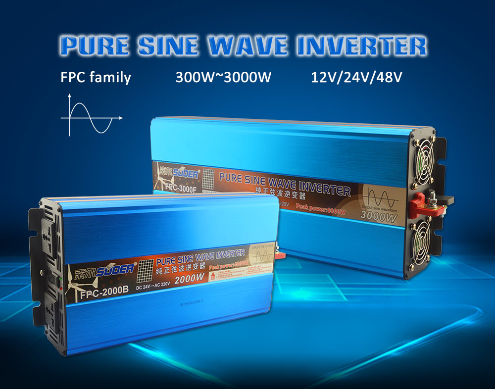 Suoer 2500W 24V 220V/230V DC To AC Power Inverters Pure Sine Wave Inverter Without Chargers