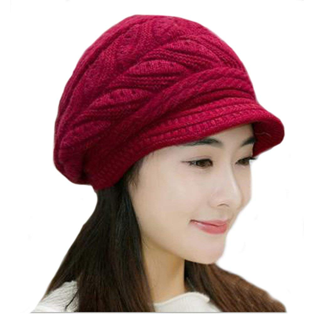 5c36d69841600 Get Quotations · Ladies Newsboy Cabbie Beret Cap Cloche Painter Visor Hats  Knit Winter Beanie Womens