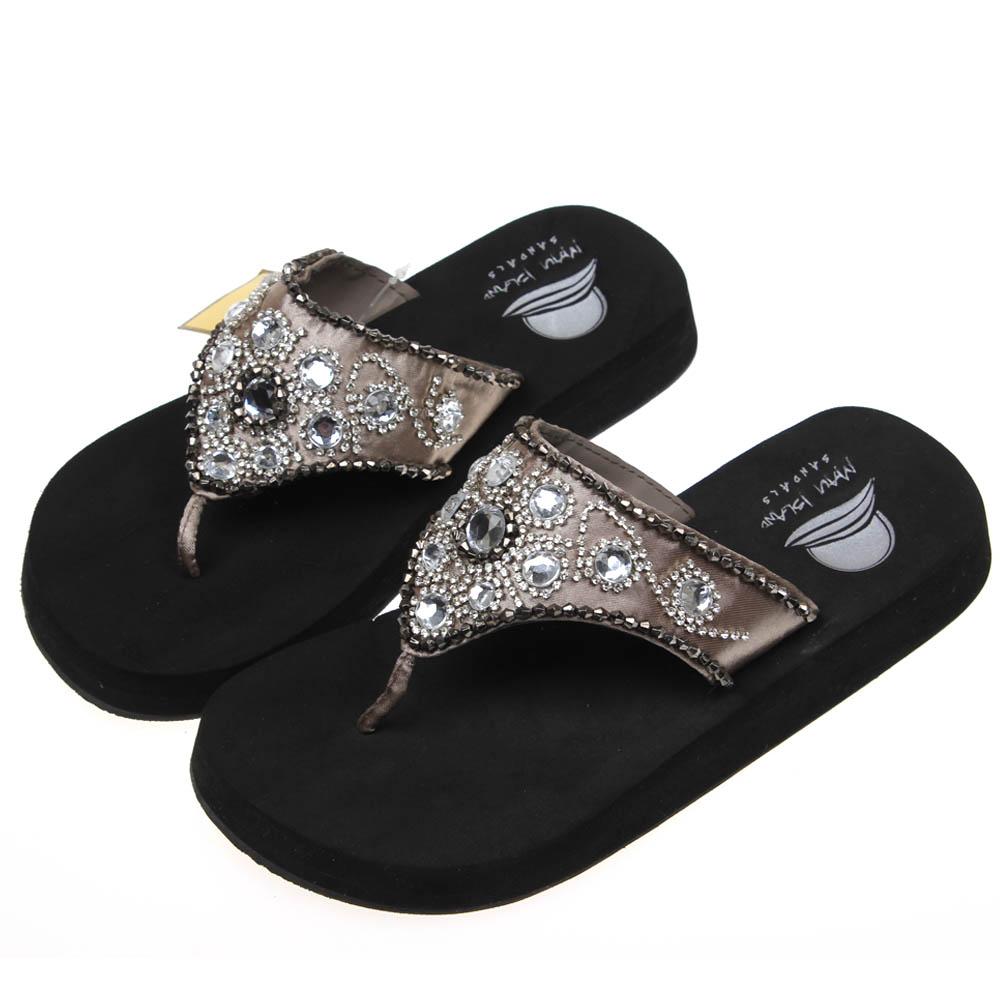 3dce32a7c1bd Get Quotations · Fashion maui island plus size summer flip flops female  paillette rhinestone slip-resistant platform