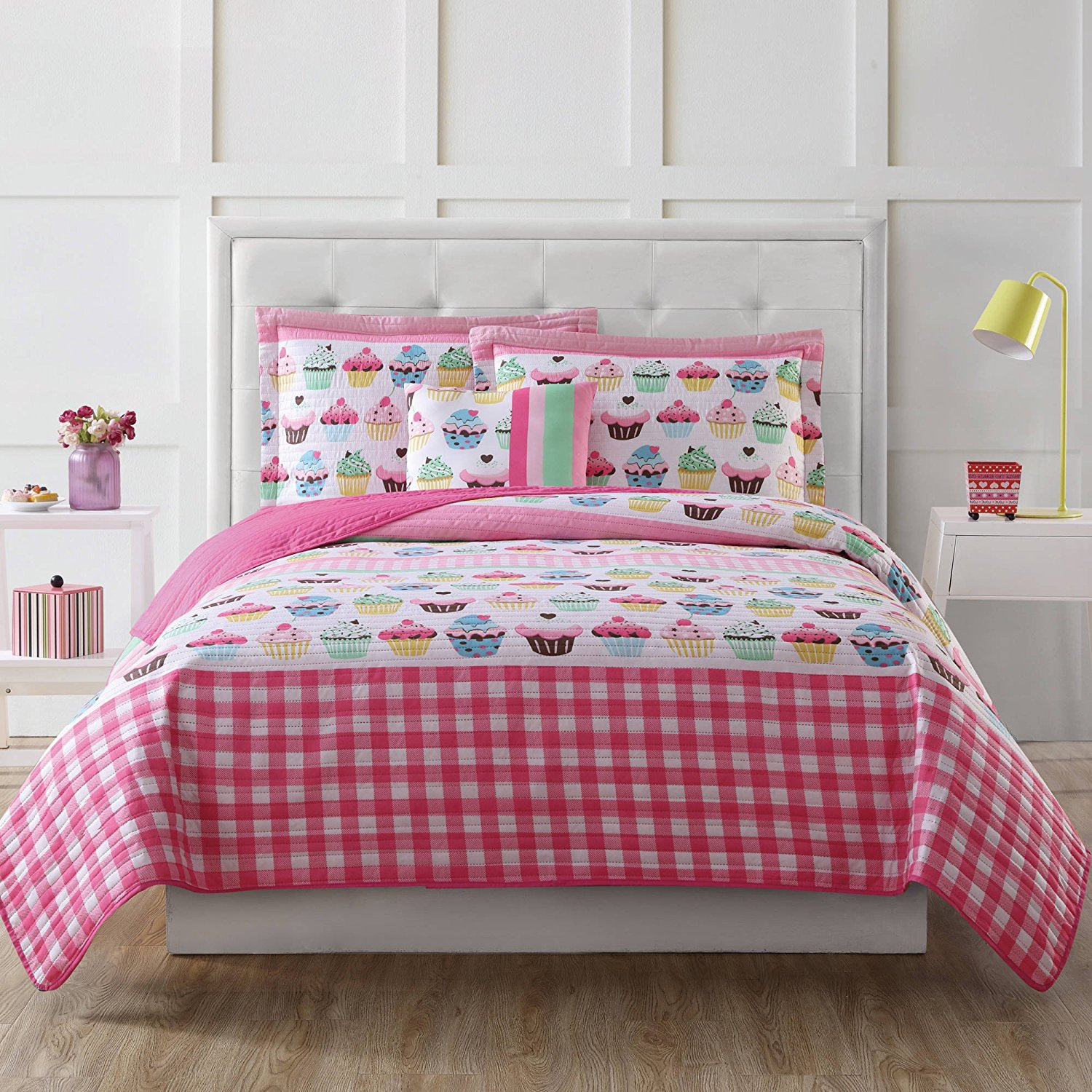 3 Piece Kids Girls Pink Yellow Blue White Twin Quilt Set, Cupcake Themed Bedding Kitchen Bright Cute Adorable Stylish Fun Sweet Pretty Plaid Charming Vibrant Baked Sweets Dessert Checkered, Microfiber