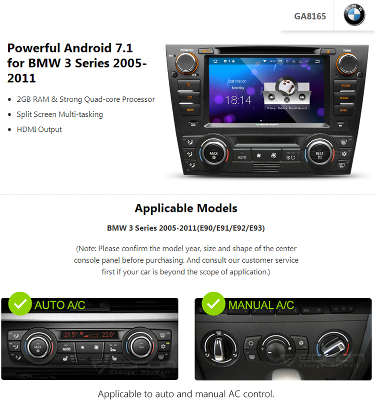 Eonon Ga8165 For Bmw E90/e91/e92/e93 Android 7 1 2gb Ram 7inch Multimedia  Car Dvd Gps With Mutual Control Easyconnection - Buy Android 7 1 Car
