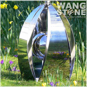 Stainless Steel Polished Flower Metal Sculpture Garden Ornament