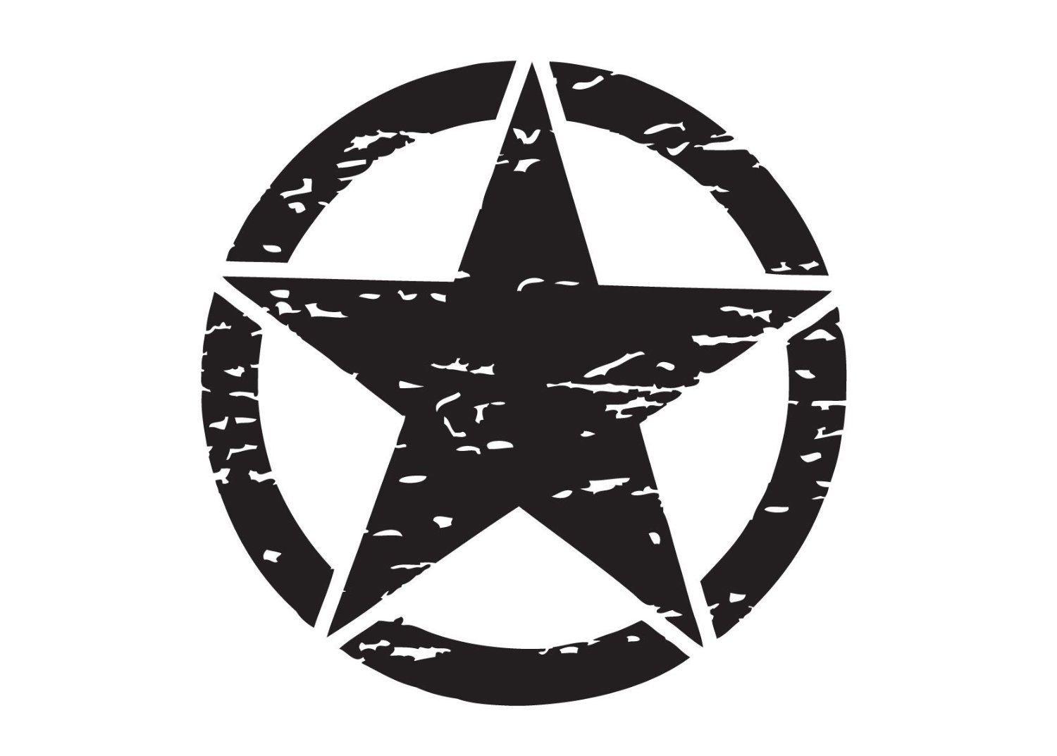 """The Pixel Hut gs00089 13"""" Matt Black Distressed Army Military Star Hood Decal for Jeep Wrangler"""