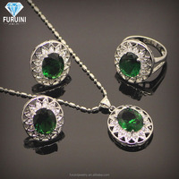 18k White Gold Plated Alloy Elements Crystal Alibaba Jewelry Set include Pendant Necklace and Stud Earring and ring for ladies