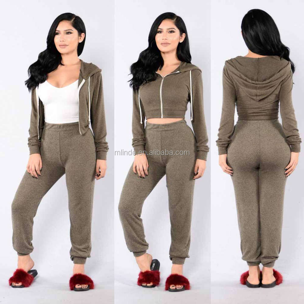 Two Piece Suit Draw String Long Sleeve Zip Up Crop Top Hoodie And Jogger Sweatpants Blank Custom Sweatsuit