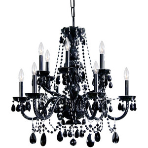 Traditional High Quality 12 Lights Black Crystal Chandelier
