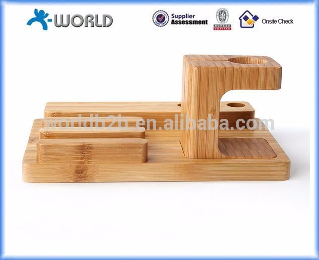Multifunction bamboo charging holder stand for apple watch