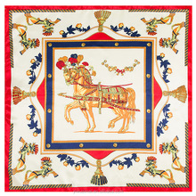 2017 Women's Twill Silk Square Scarf With the Pattern of Scarf Horse