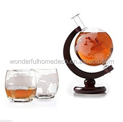 30oz 850ml Large Etched Globe Decanter with Glass Ship for Scotch Bourbon Rum Liquor Wine