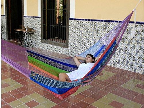 Sunnydaze Portable Mayan Hammock Hand-Woven, Jumbo Size, 770 Pound Capacity, Multi-Color