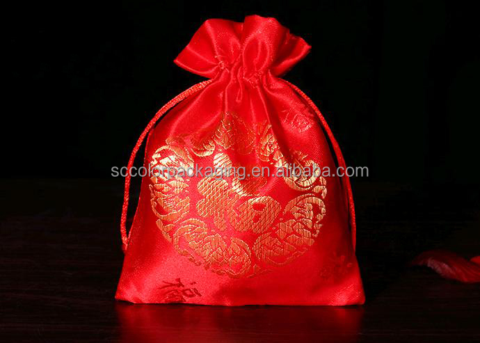Chinese Red Lucky Drawstring Bag Jewelry Packing Bag
