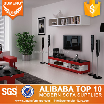 Simple Stylish Red Color Tv Stand Modern Gl Television