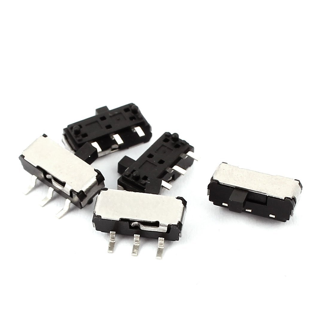 uxcell 5 Pcs 2 Position Straight 3P SPDT Micro Slide Switch Latching Toggle Switch Black