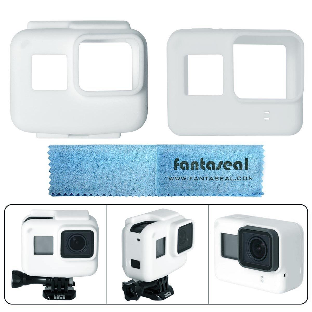 Fantaseal Silicone Case for Gopro Hero 5 Black Frame Silicone Protective Case + GoPro Hero5 Camera Silicone Case Shell for GoPro Hero 5 + Super Micro-Fiber Lens Cloth -White