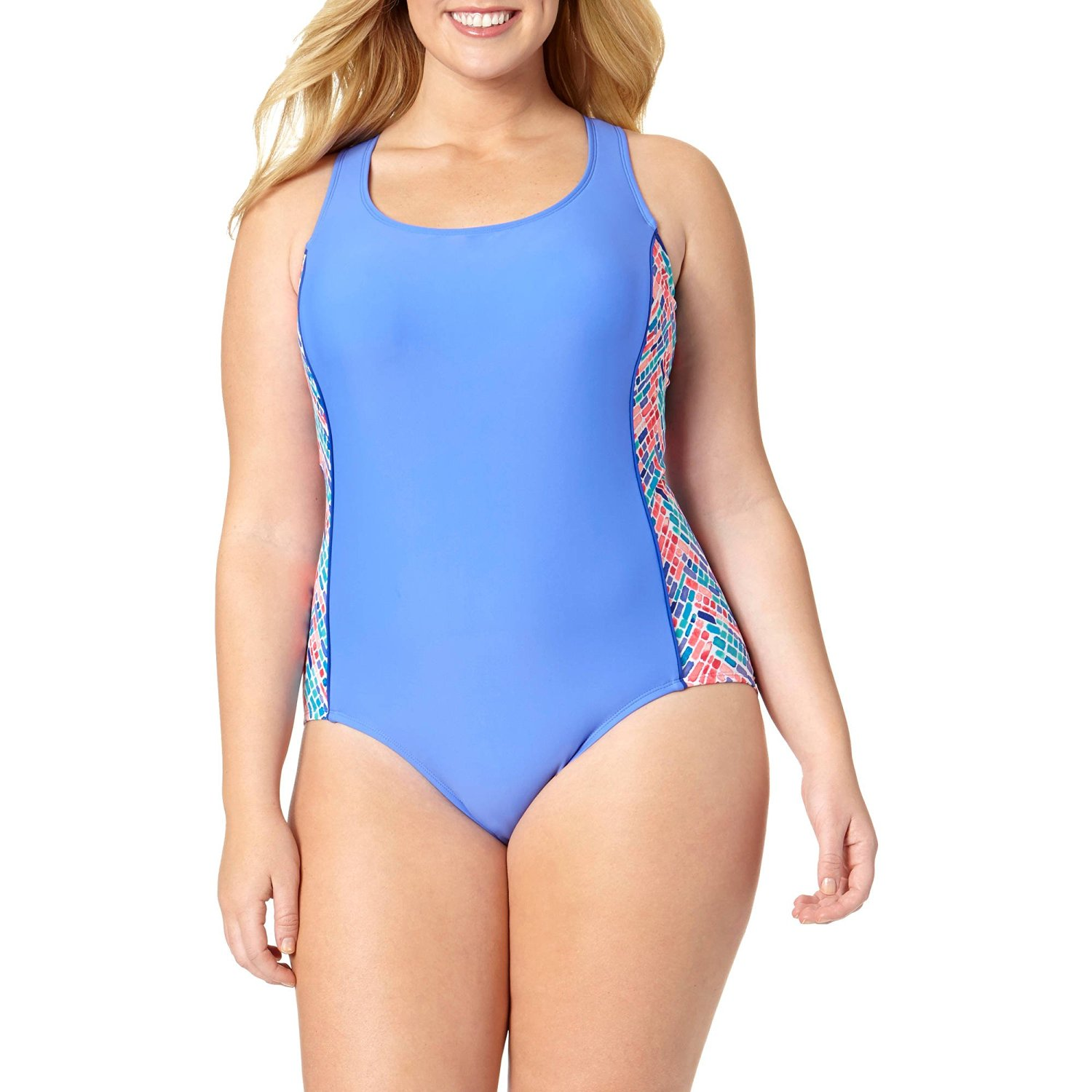 bcafbc321d0 Catalina Women s Rainbow Road High Neck Athletic One-Piece Swimsuit -  Regular and Plus Sizes