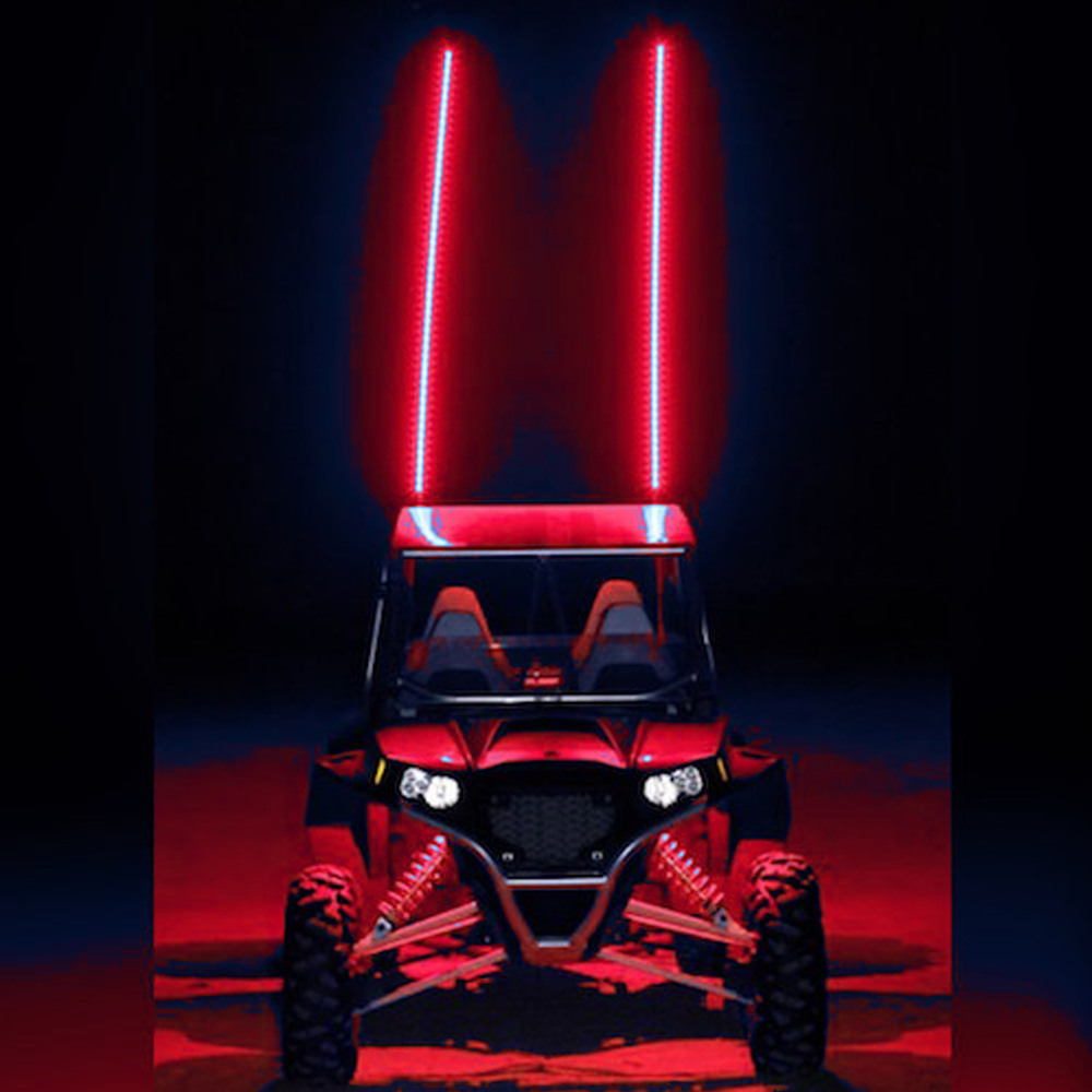 Red Blue White 5 Feet Quick Release ATV UTV LED Light Whip with Flag