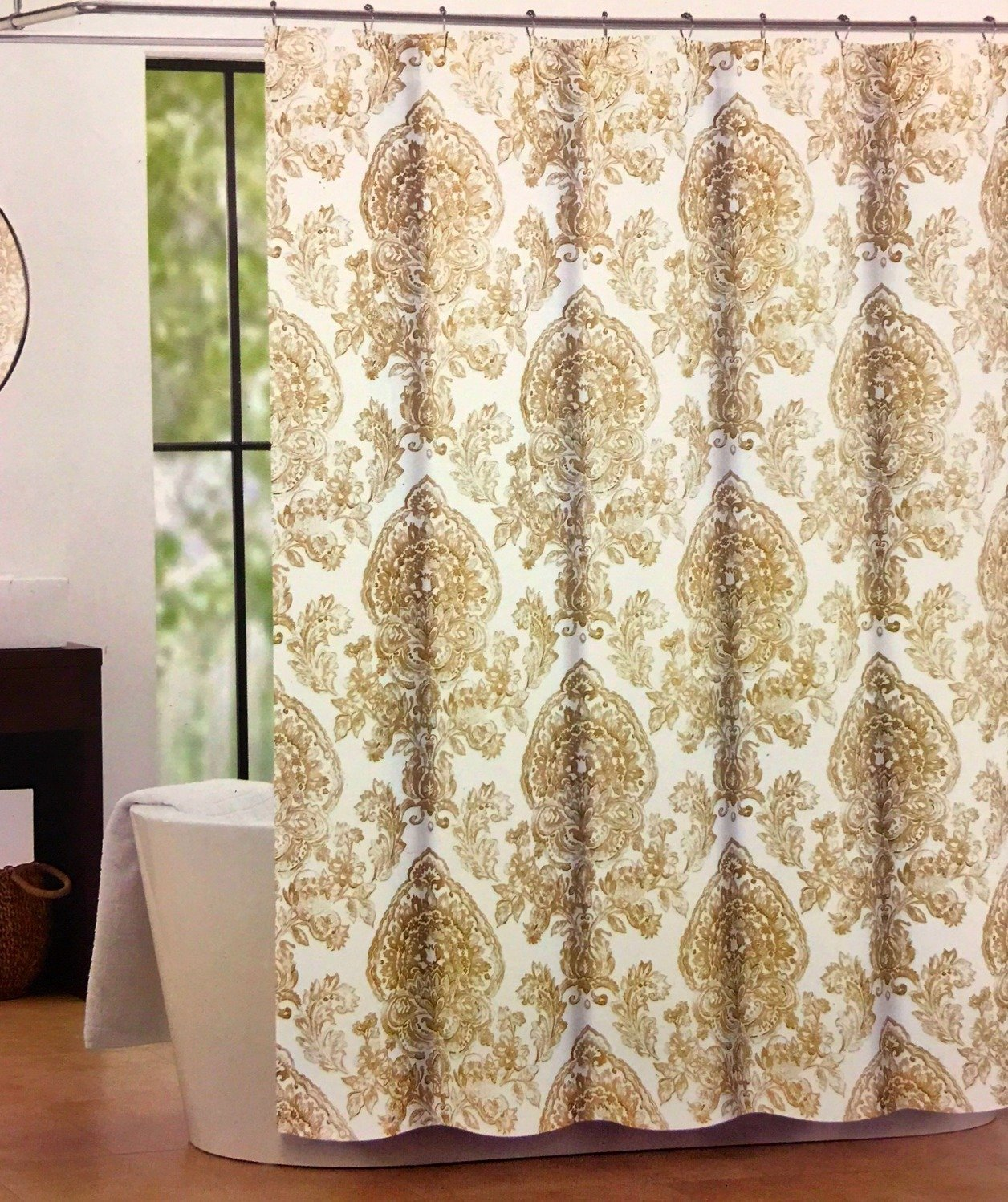 Tahari Cognac Damask Shower Curtain Caf Latte Country French Medallions On White