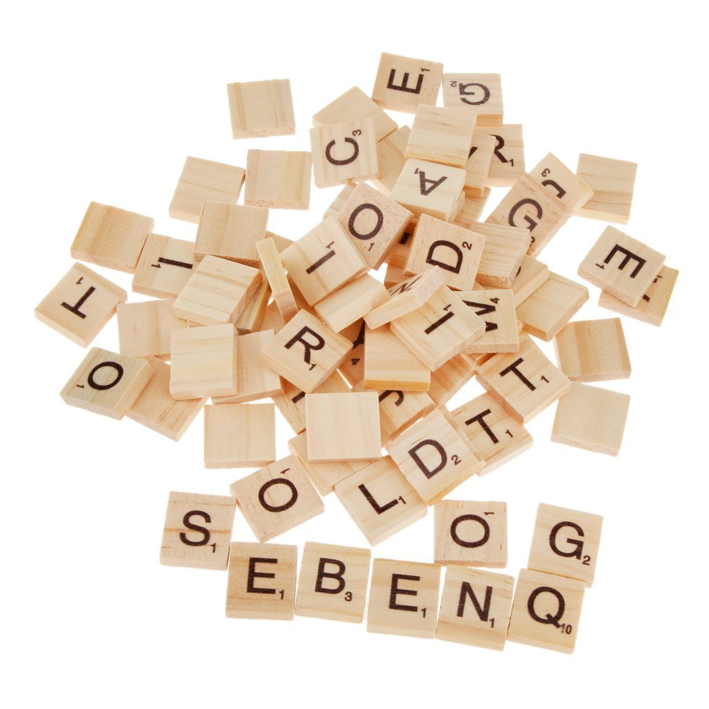 Tesoar Scrabble Tiles 100 Wooden Alphabet Scrabble Tiles Black Letters & Numbers For Crafts Wood
