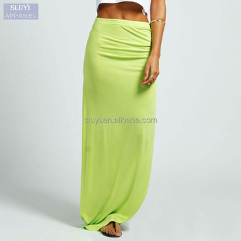 Ruched Side Jersey Fluorescence Color Skirt Cheap Maxi Skirts Curly Willow Table  Skirt