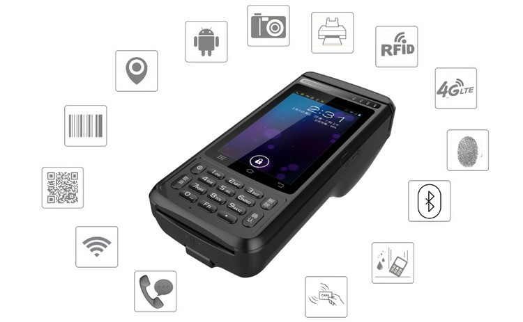 Customized portable handheld android all-in-one pda rfid with thermal printer for steet parking charge