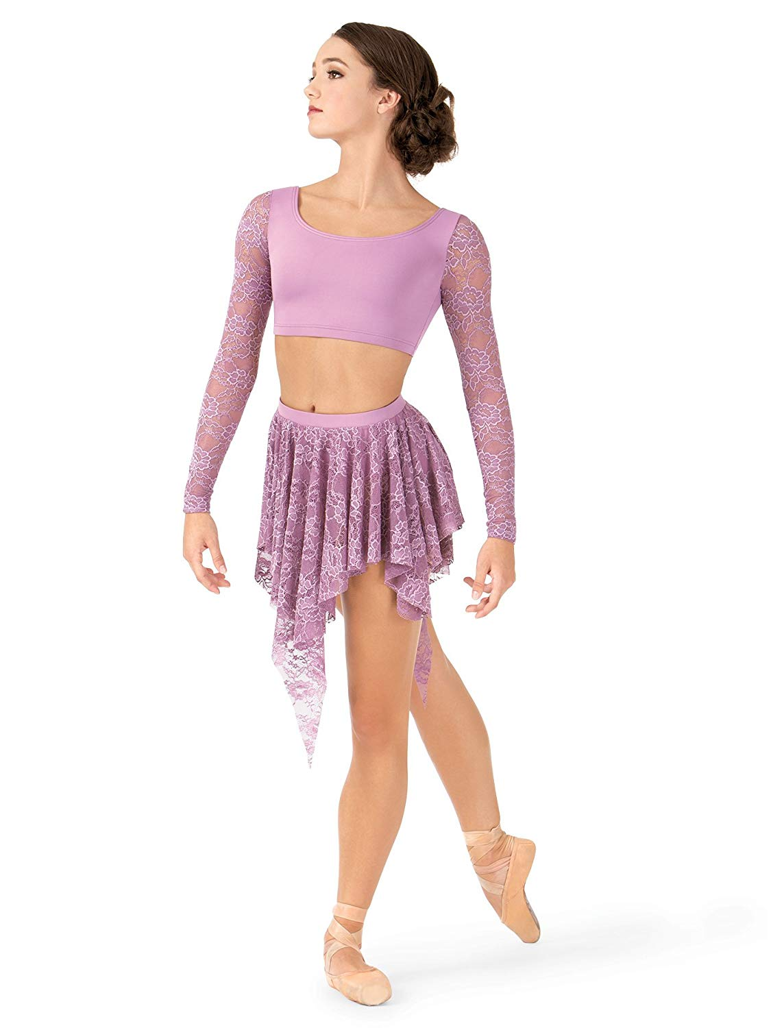 2512b42ef9 Get Quotations · Body Wrappers Adult Uneven Hem Drapey Lace Dance  Skirt