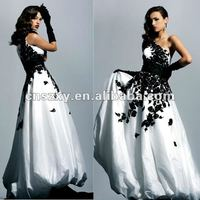 2012 One Shoulder A line Black Lace Embroidery Yaffeya Vintage Wedding Dresses