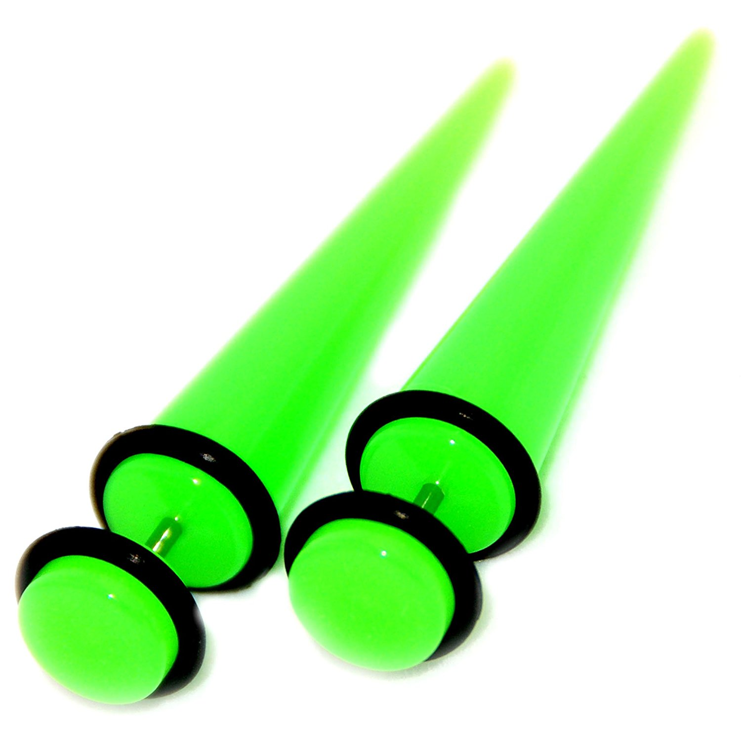 1 PAIR LARGE Neon Acrylic Tapers Expanders Gauges Pink Blue Green Purple Yellow
