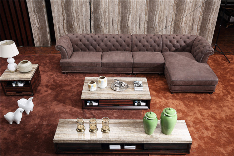 Modern Latest New Design Chesterfield Arabic Majlis Leather Corner Sofa Sofaset For Living Room