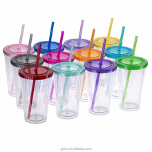 ECO friendly double walled plastic insulated cups with lid and straw,Double wall plastic cup with straw wholesale