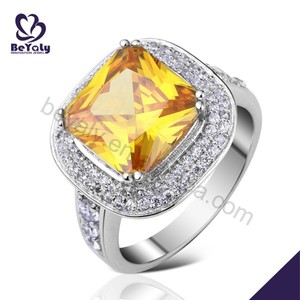 Yellow stone most popular rhodium plating sterling silver rings