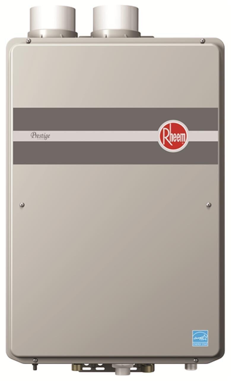 Rheem RTGH-90DVLN Prestige Indoor Condensing Ultra Low NOx Natural Gas Tankless Water Heater, 9.0 GPM, ,