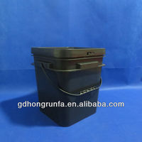 D120/3 gallon the cheap high quality recycle PP plastic square black bucket for cement for powder
