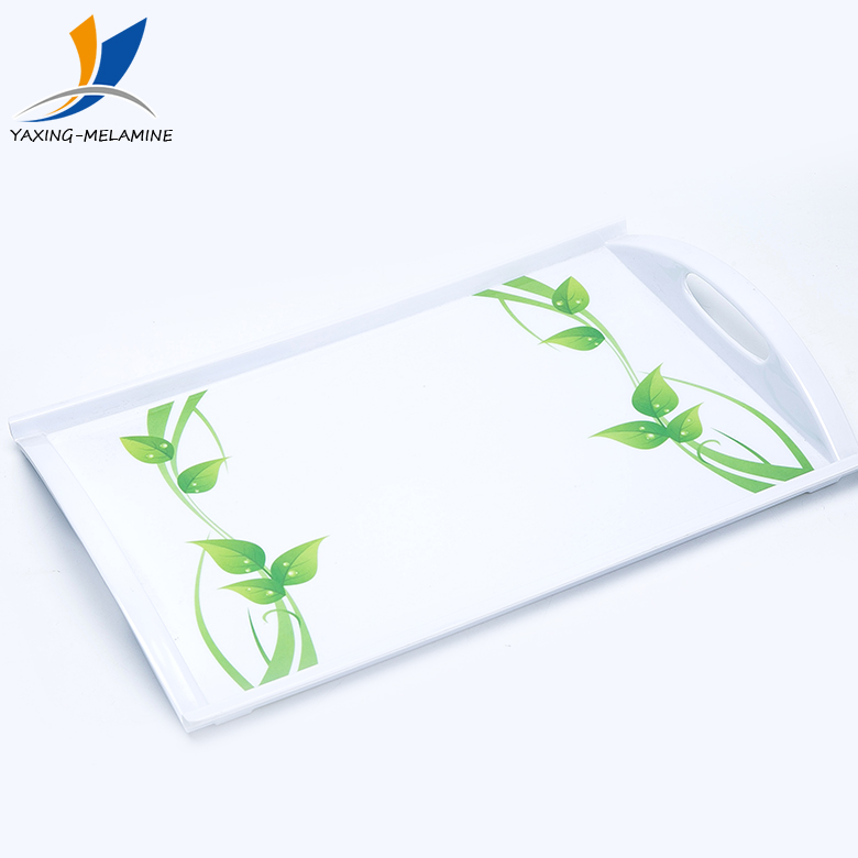 Factory customized unbreakable white melamine serving tray with handles