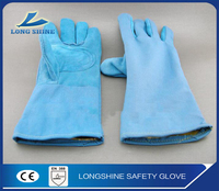 Heavy Duty Long Cow Split Leather Heat Resistant Industry Hand Protection Thermal Welding Safety Gloves