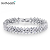 LUOTEEMI Fashion Luxury Zircon Jewelry Bangles And Bracelets Costume Jewelry AAA Cubic Zirconia Diamond Wedding Bridal Bracelet