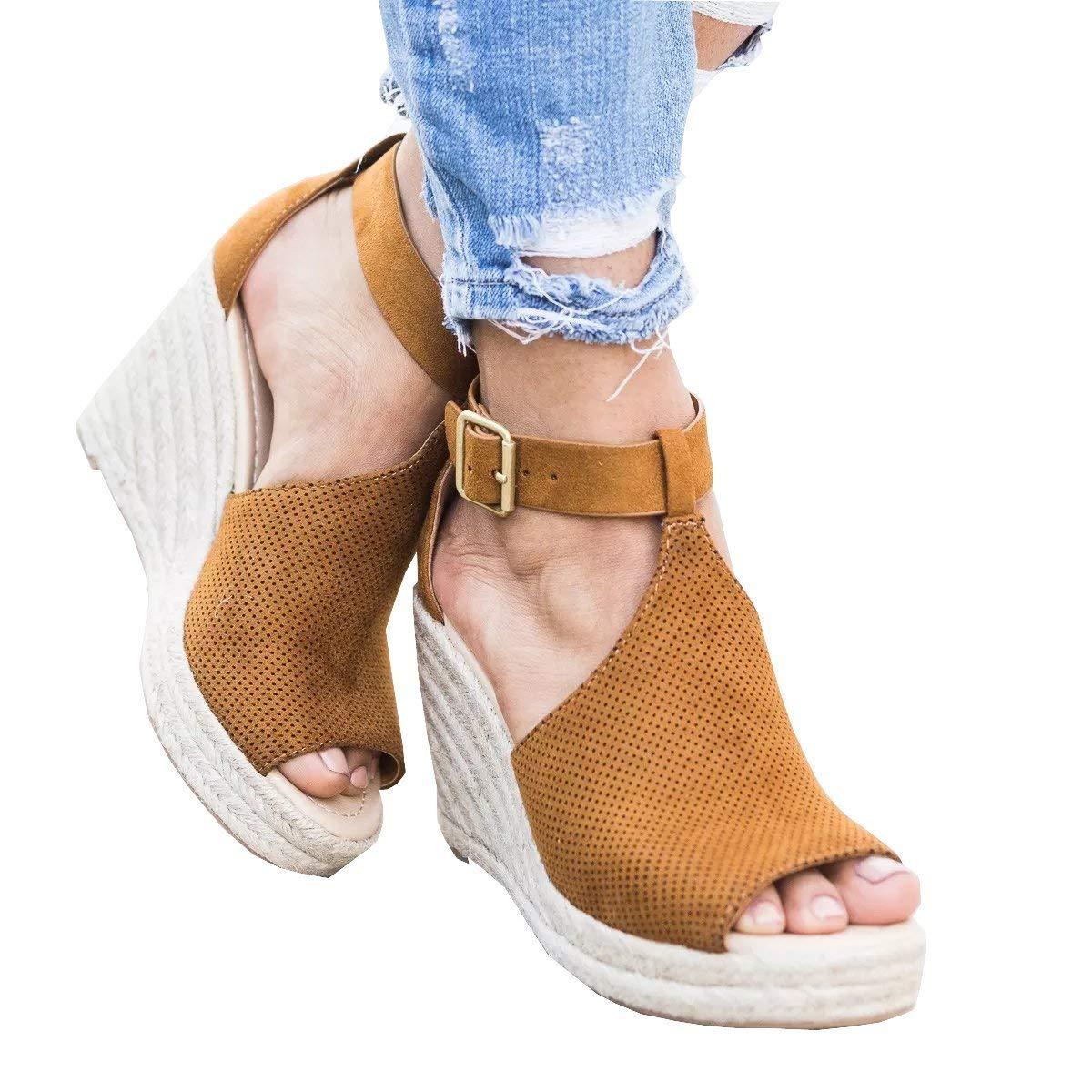 cd53d5209c55 Voguegirl Womens Platform Wedge Heel Peep Toe Ankle Strap Slingback Suede  Sandals Brown 5 US
