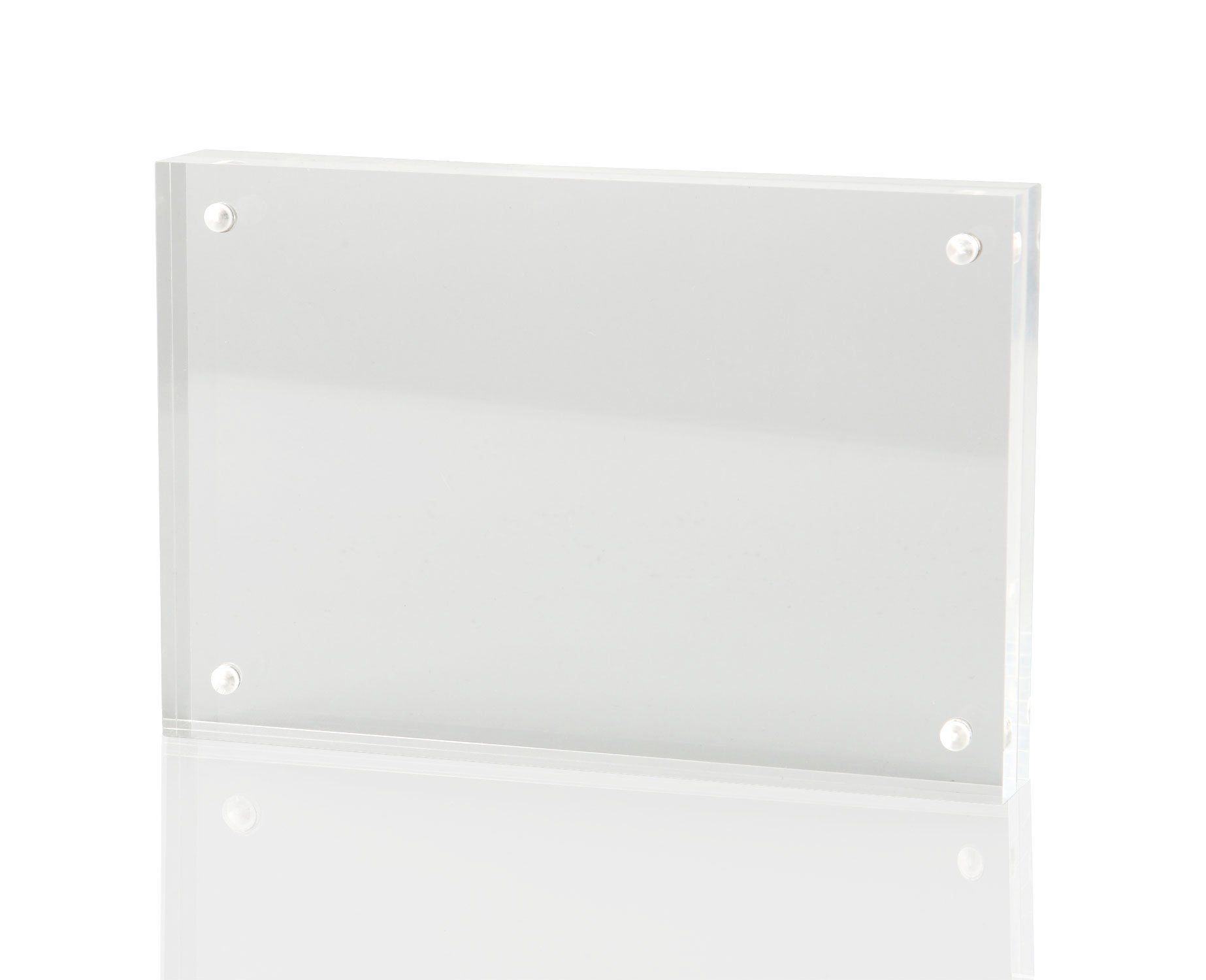 AULife 5X7 Inches Clear Acrylic Magnet Photo Frame; Desktop Frames, Thicker Than Standard for Double Sided Photo Showed