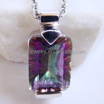 Gemstone Jewelry Indian Silver Pendant Mystic Topaz Pendant , Accepted by paypal