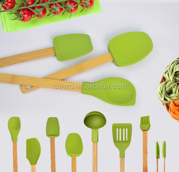 Silicona Fresca Cocina Utensilios De Cocina Con Mango De Bambú De ...