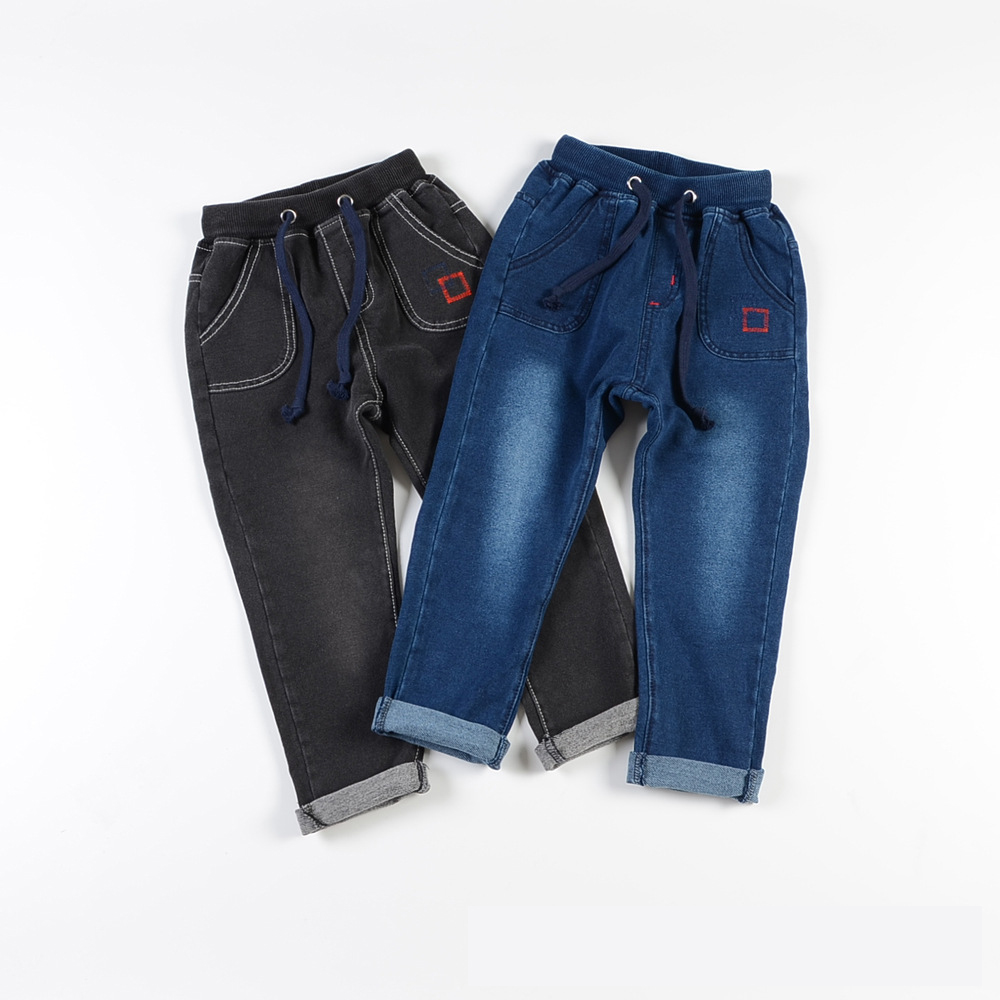 Custom made wholesale boys faded glory color knitted kids jeans pants