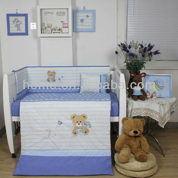 New Design Baby Boys Crib Bedding Sets With Bear Embroidery In Color Combination Light Blue And White Toddler Pure